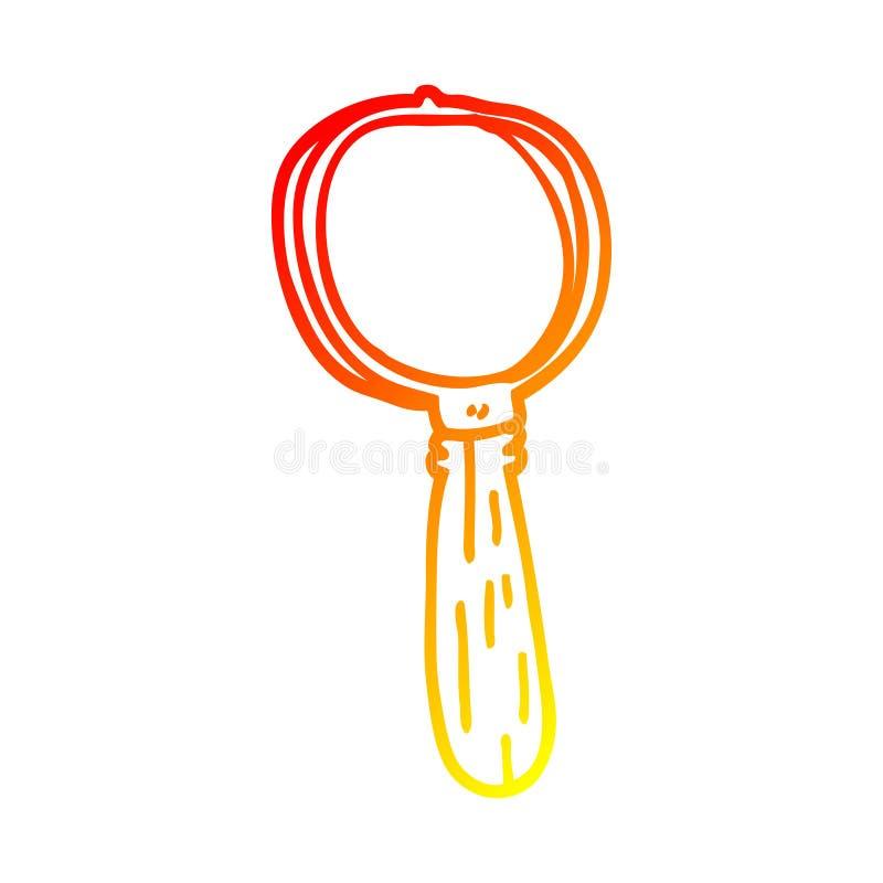 A creative warm gradient line drawing cartoon magnifying glass. An original creative warm gradient line drawing cartoon magnifying glass stock illustration