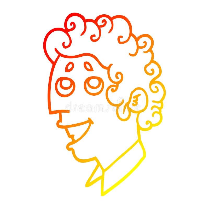 A creative warm gradient line drawing cartoon man face. An original creative warm gradient line drawing cartoon man face royalty free illustration