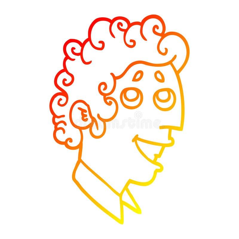 A creative warm gradient line drawing cartoon man face. An original creative warm gradient line drawing cartoon man face stock illustration