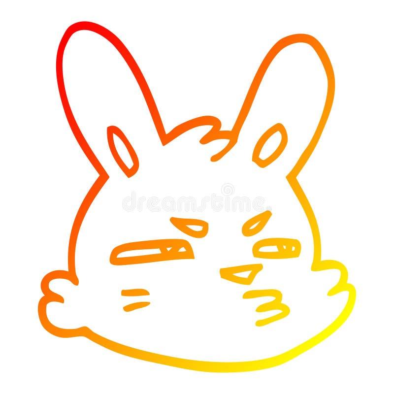 A creative warm gradient line drawing cartoon moody rabbit. An original creative warm gradient line drawing cartoon moody rabbit royalty free illustration