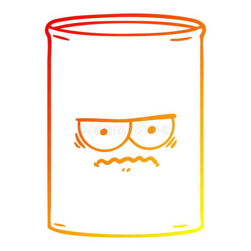 A creative warm gradient line drawing cartoon oil drum. An original creative warm gradient line drawing cartoon oil drum vector illustration