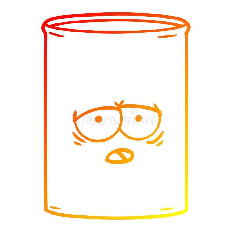 A creative warm gradient line drawing cartoon oil drum. An original creative warm gradient line drawing cartoon oil drum stock illustration