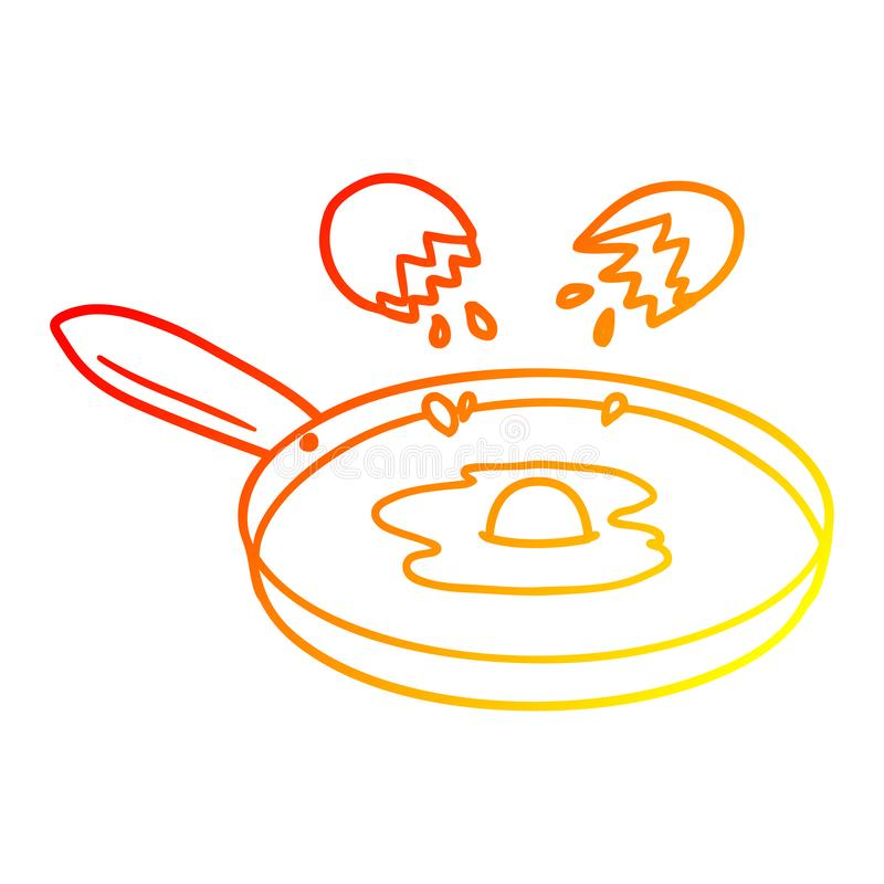 A creative warm gradient line drawing cartoon pan frying egg. An original creative warm gradient line drawing cartoon pan frying egg royalty free illustration