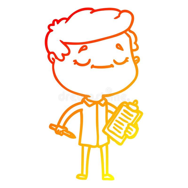 A creative warm gradient line drawing cartoon peaceful man. An original creative warm gradient line drawing cartoon peaceful man stock illustration