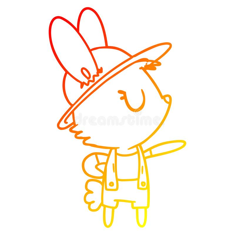 A creative warm gradient line drawing cartoon rabbit construction worker royalty free stock images