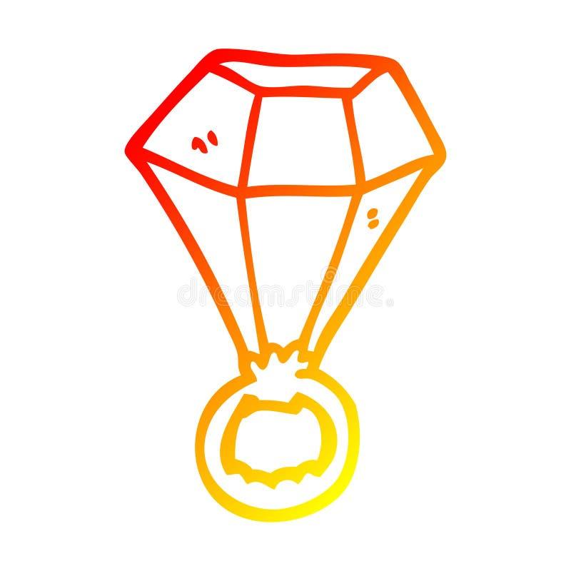 A creative warm gradient line drawing cartoon red ruby ring. An original creative warm gradient line drawing cartoon red ruby ring vector illustration