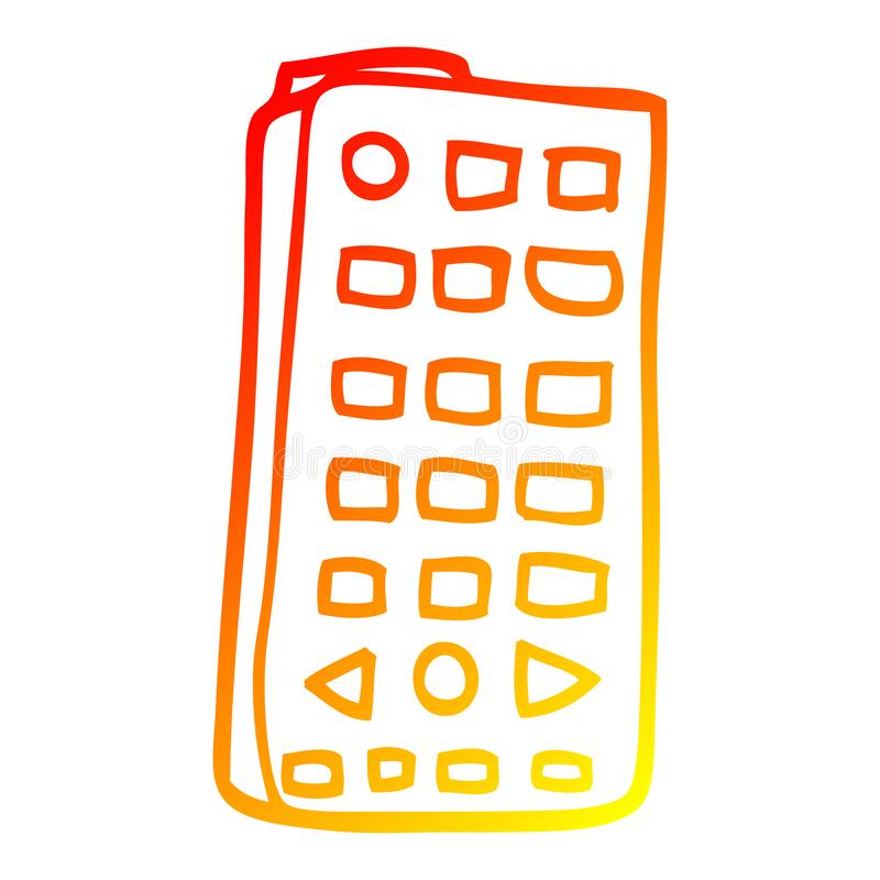 A creative warm gradient line drawing cartoon remote control. An original creative warm gradient line drawing cartoon remote control stock illustration