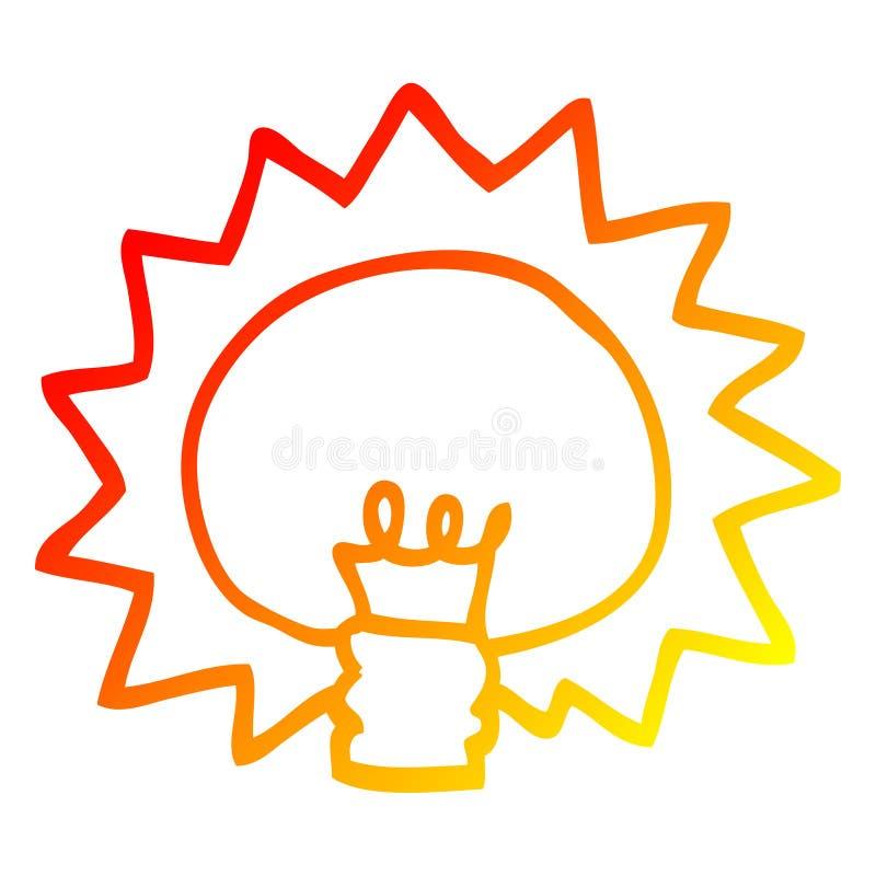 A creative warm gradient line drawing cartoon shining light bulb. An original creative warm gradient line drawing cartoon shining light bulb stock illustration