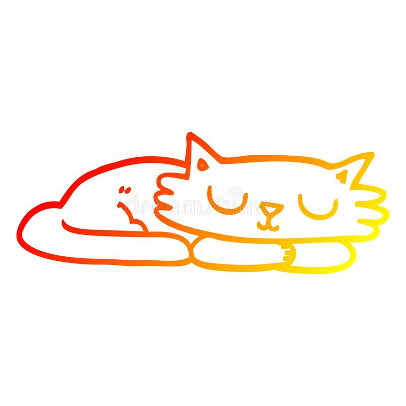 A creative warm gradient line drawing cartoon sleeping cat. An original creative warm gradient line drawing cartoon sleeping cat royalty free illustration