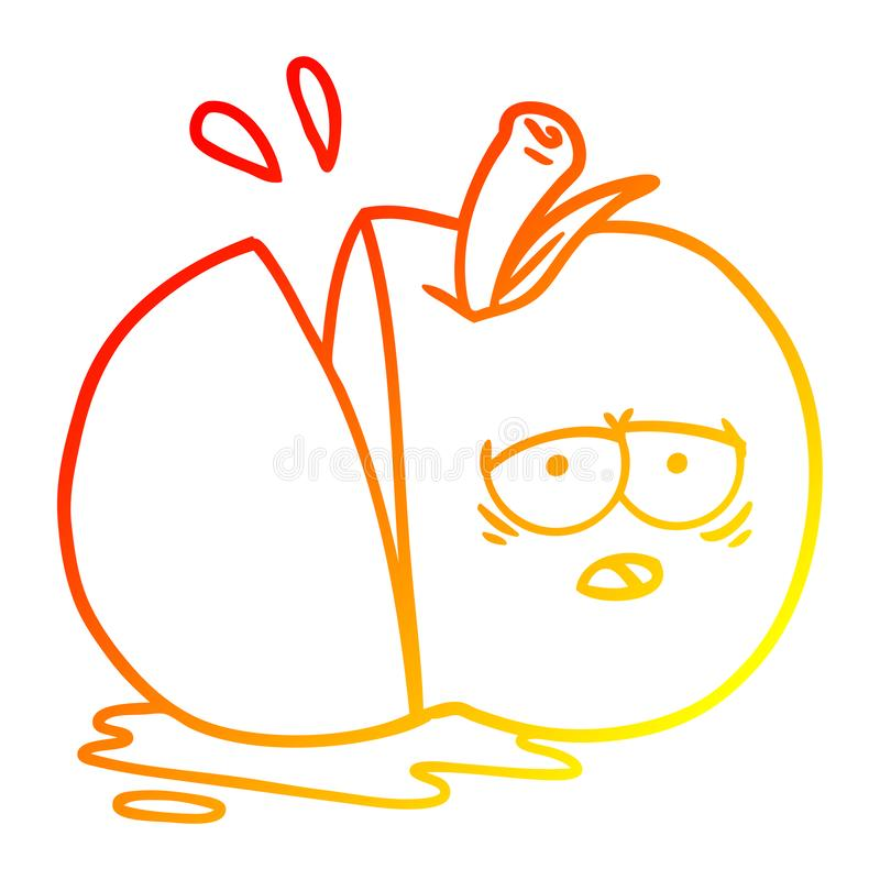 A creative warm gradient line drawing cartoon sliced apple. An original creative warm gradient line drawing cartoon sliced apple vector illustration