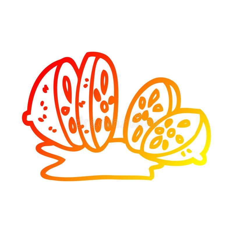 A creative warm gradient line drawing cartoon sliced lemon. An original creative warm gradient line drawing cartoon sliced lemon vector illustration