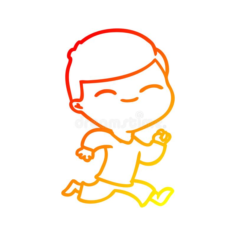 A creative warm gradient line drawing cartoon smiling boy running vector illustration