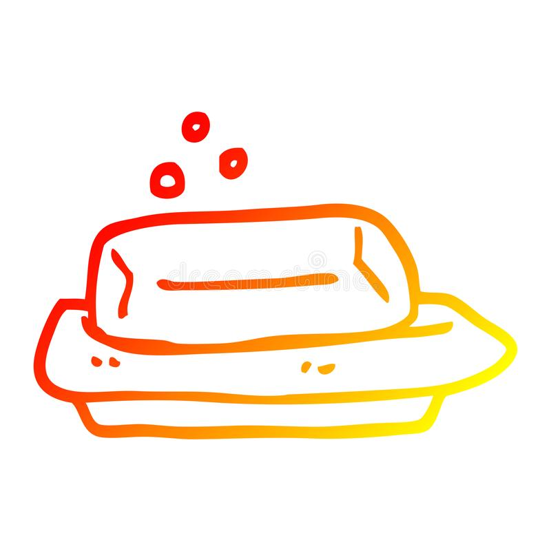 A creative warm gradient line drawing cartoon soap and dish vector illustration