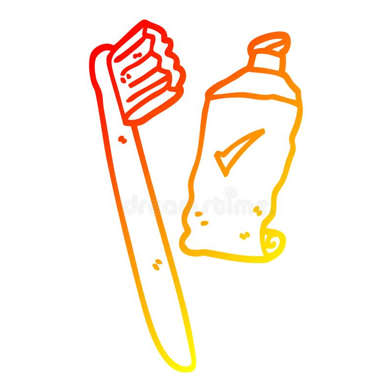 A creative warm gradient line drawing cartoon tooth brush and paste. An original creative warm gradient line drawing cartoon tooth brush and paste royalty free illustration