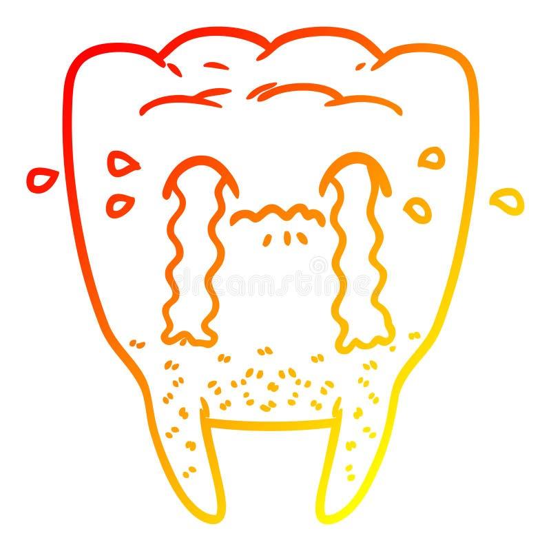A creative warm gradient line drawing cartoon tooth crying. An original creative warm gradient line drawing cartoon tooth crying royalty free illustration