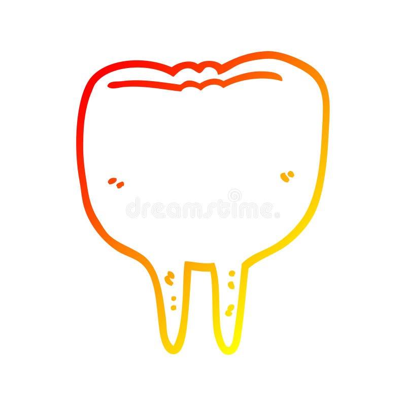 A creative warm gradient line drawing cartoon tooth. An original creative warm gradient line drawing cartoon tooth royalty free illustration