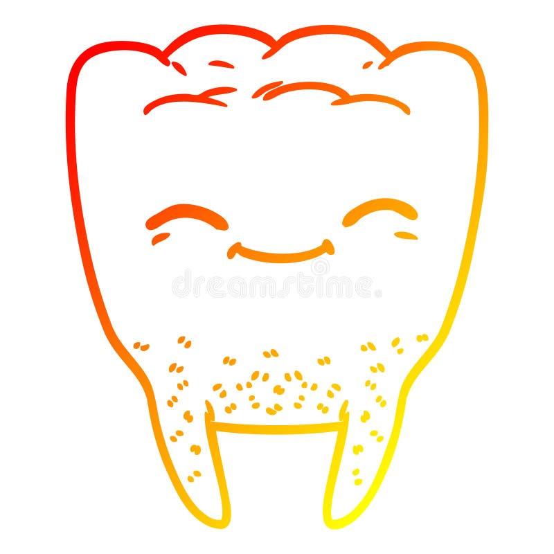 A creative warm gradient line drawing cartoon tooth. An original creative warm gradient line drawing cartoon tooth stock illustration