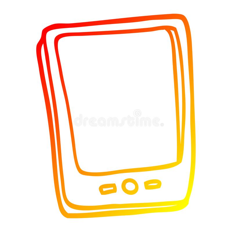 A creative warm gradient line drawing cartoon touch screen mobile. An original creative warm gradient line drawing cartoon touch screen mobile royalty free illustration