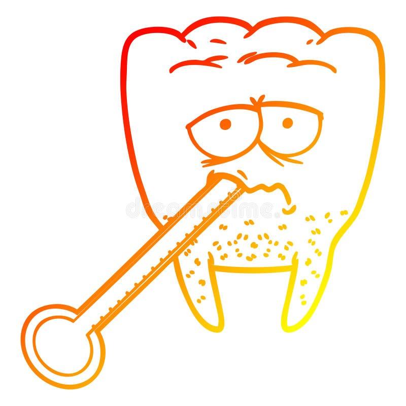 A creative warm gradient line drawing cartoon unhealthy tooth. An original creative warm gradient line drawing cartoon unhealthy tooth royalty free illustration