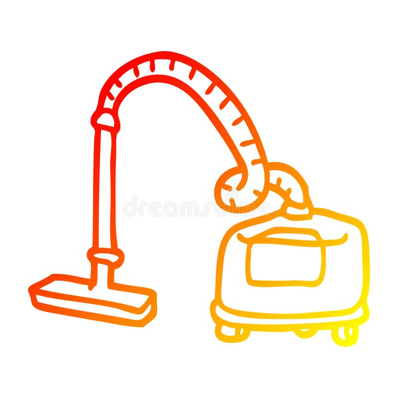 A creative warm gradient line drawing cartoon vacuum hoover. An original creative warm gradient line drawing cartoon vacuum hoover royalty free illustration