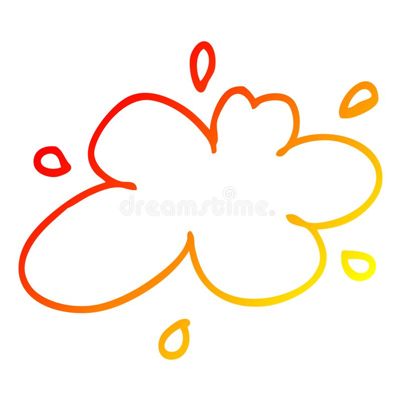 A creative warm gradient line drawing cartoon water splash. An original creative warm gradient line drawing cartoon water splash stock illustration