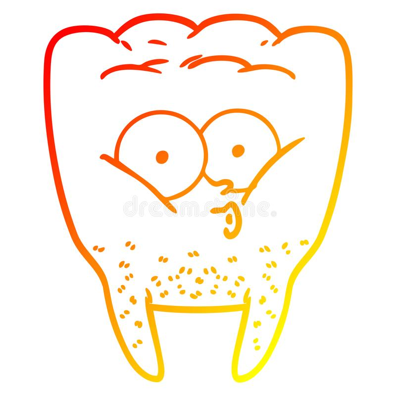 A creative warm gradient line drawing cartoon whistling tooth. An original creative warm gradient line drawing cartoon whistling tooth royalty free illustration