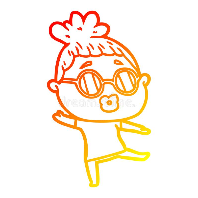 A creative warm gradient line drawing cartoon woman dancing wearing spectacles. An original creative warm gradient line drawing cartoon woman dancing wearing vector illustration