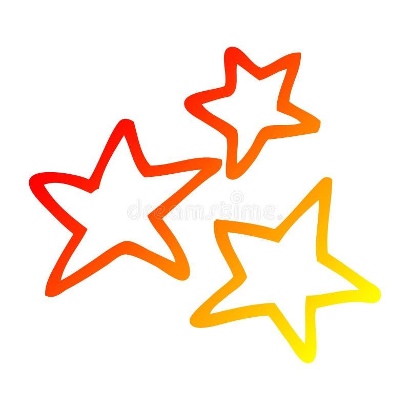 A creative warm gradient line drawing cartoon yellow stars. An original creative warm gradient line drawing cartoon yellow stars stock illustration