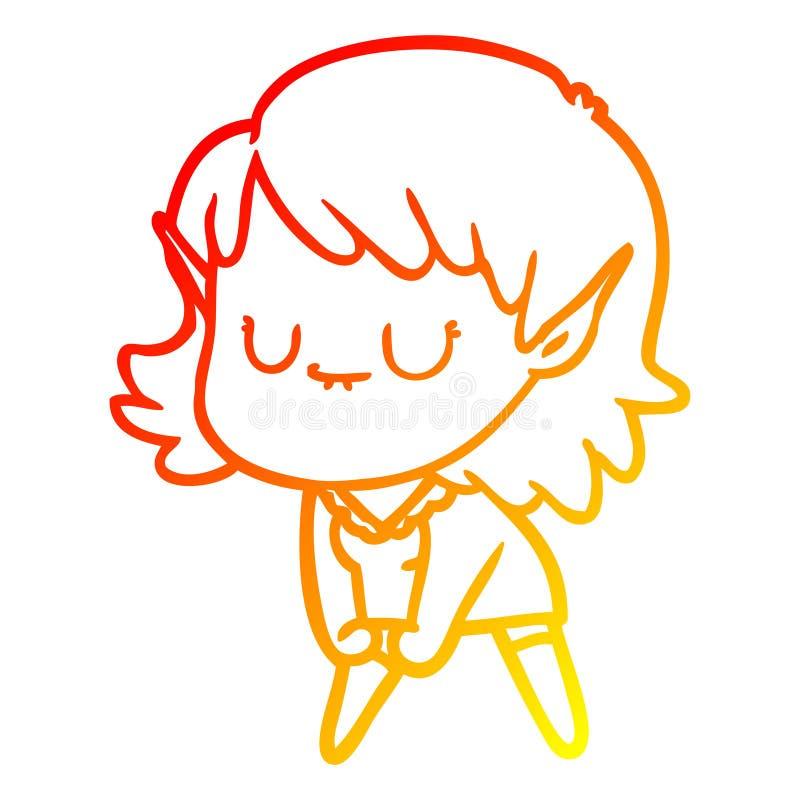 A creative warm gradient line drawing happy cartoon elf girl posing. An original creative warm gradient line drawing happy cartoon elf girl posing stock illustration