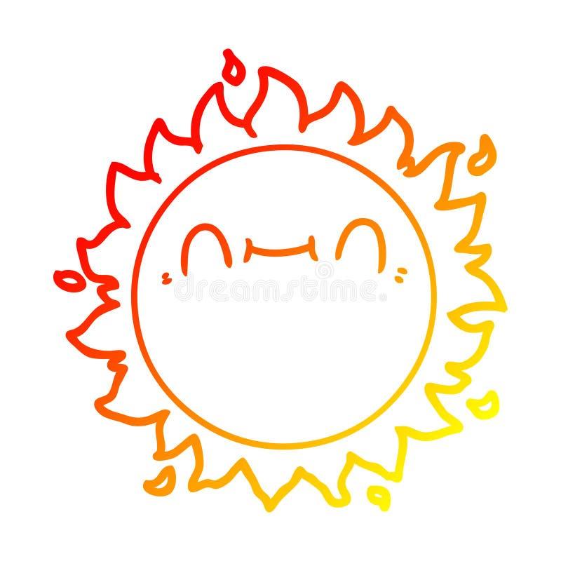 A creative warm gradient line drawing happy cartoon sun vector illustration