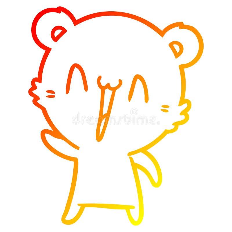 A creative warm gradient line drawing happy polar bear cartoon. An original creative warm gradient line drawing happy polar bear cartoon stock illustration