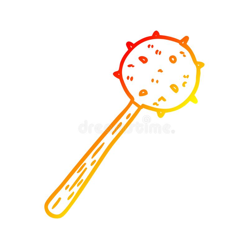 A creative warm gradient line drawing medieval mace weapon. An original creative warm gradient line drawing medieval mace weapon vector illustration