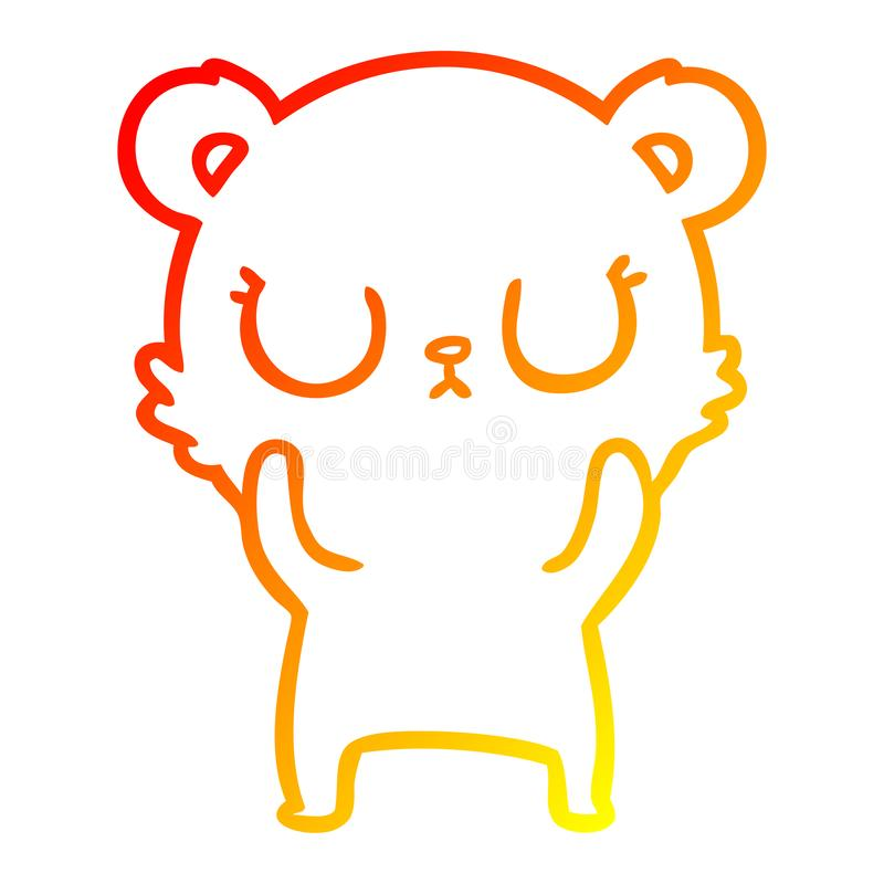 A creative warm gradient line drawing peaceful cartoon bear. An original creative warm gradient line drawing peaceful cartoon bear vector illustration