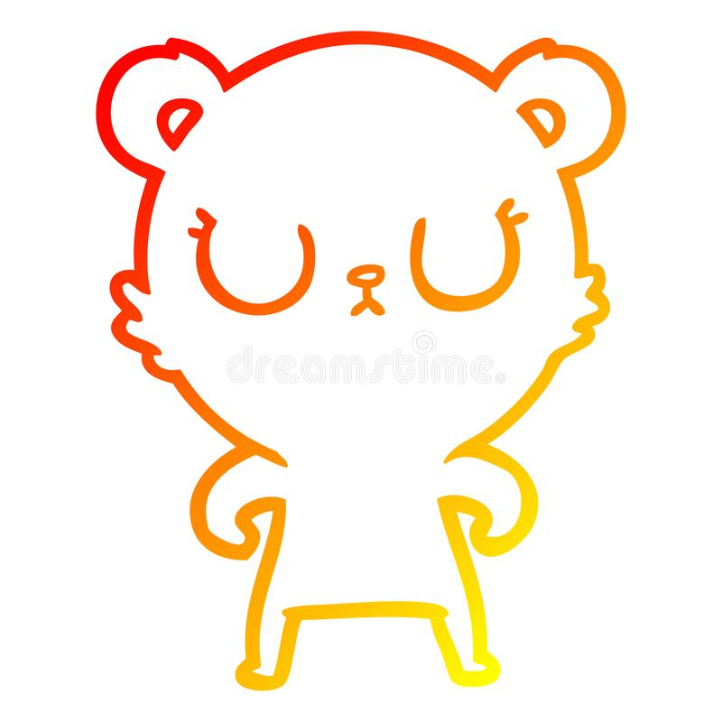 A creative warm gradient line drawing peaceful cartoon bear. An original creative warm gradient line drawing peaceful cartoon bear stock illustration
