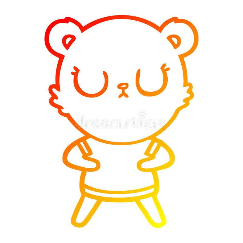 A creative warm gradient line drawing peaceful cartoon bear. An original creative warm gradient line drawing peaceful cartoon bear royalty free illustration