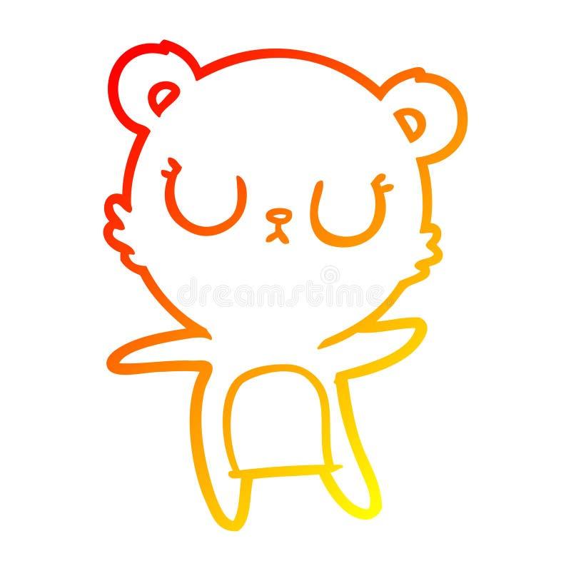 A creative warm gradient line drawing peaceful cartoon polar bear. An original creative warm gradient line drawing peaceful cartoon polar bear royalty free illustration