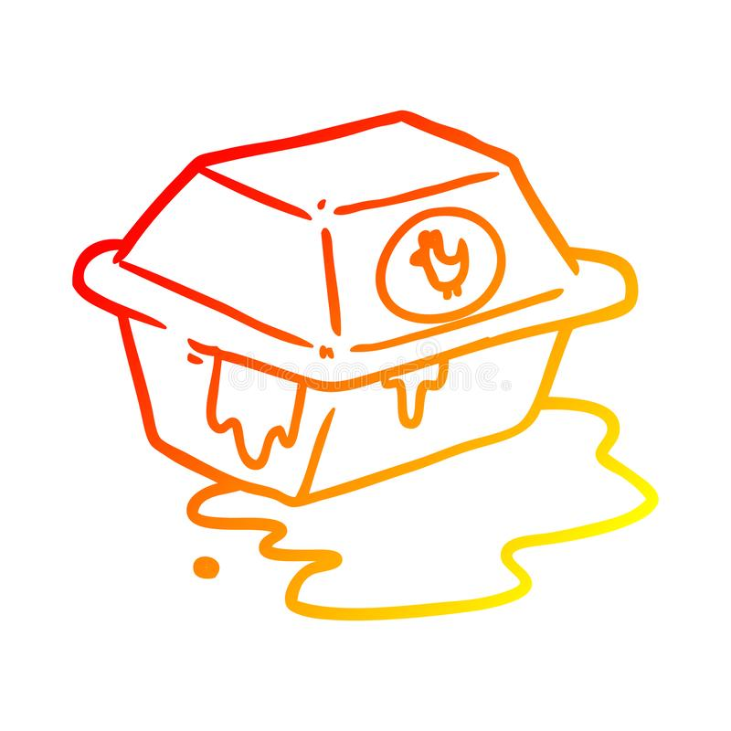 A creative warm gradient line drawing take out fried chicken stock illustration