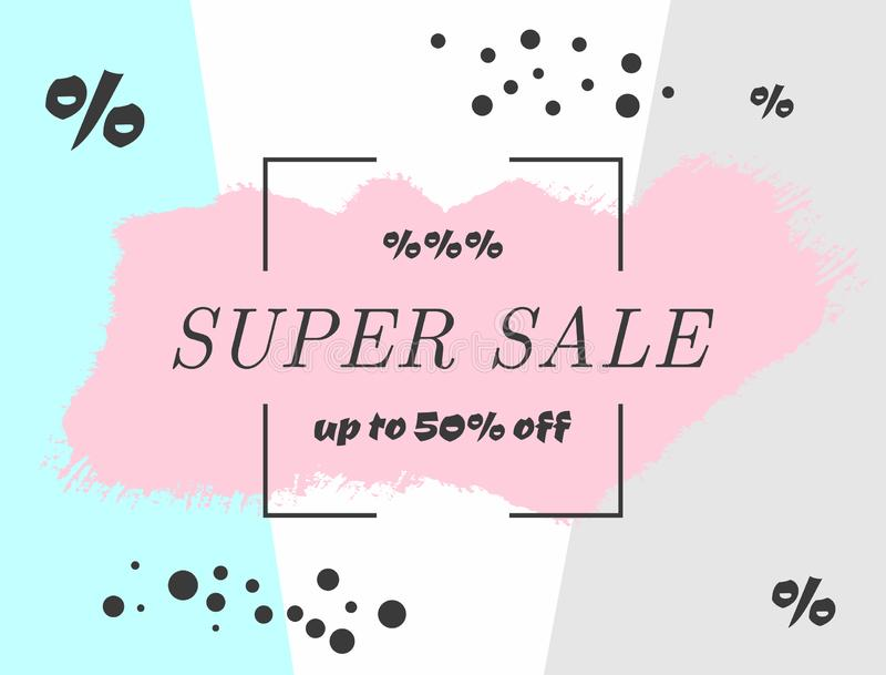 Creative watercolor background with text Super Sale up to 50 % off. Stylish advertising template. Sketch, paint, splash. Vector illustration vector illustration