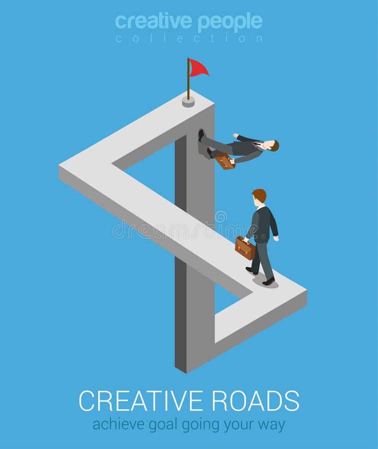 Creative ways to achieve goal flat 3d web isometric infographic business concept. Impossible fairy maze fable nonexistent crossing roads optical illusion vector illustration