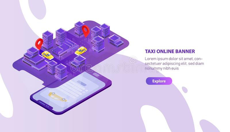 Creative web banner template with mobile phone projecting city map with taxi cabs locator. Colorful isometric vector royalty free illustration