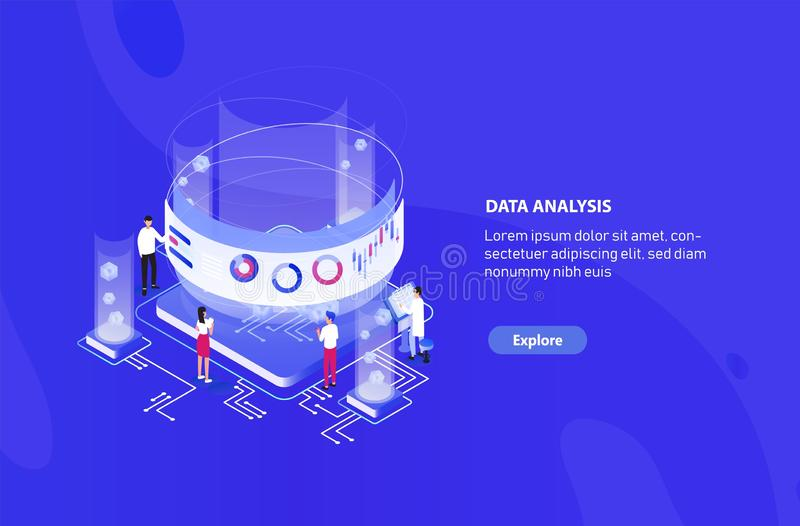 Creative web banner template with tiny people standing around giant integral circuit, charts, diagrams and graphs on. Virtual screen. Big data analysis stock illustration