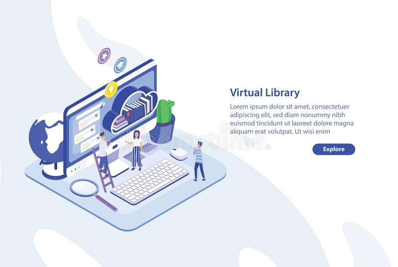 Creative web banner template with tiny people standing in front of giant computer screen and shelf of books. Virtual. Electronic or online library service stock illustration