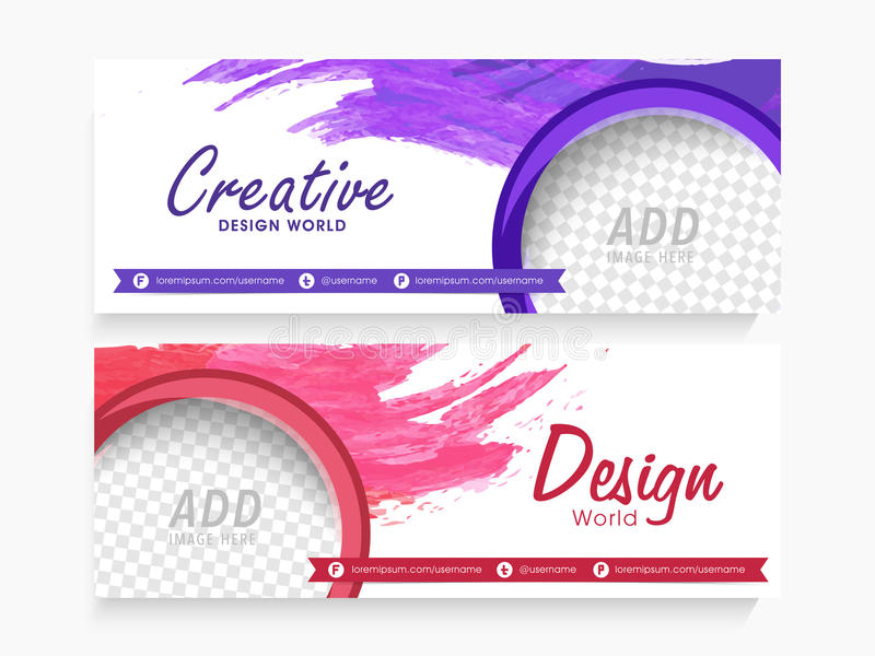 Creative web header or banner set. Creative website header or banner set with free space to add your image royalty free illustration