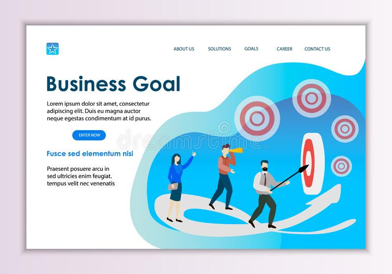 Creative website template of business goal concept royalty free illustration