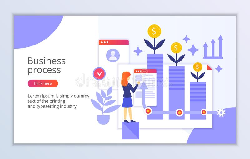 Creative website template of business process concept royalty free illustration