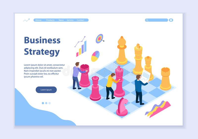 Creative website template of business strategy concept vector illustration