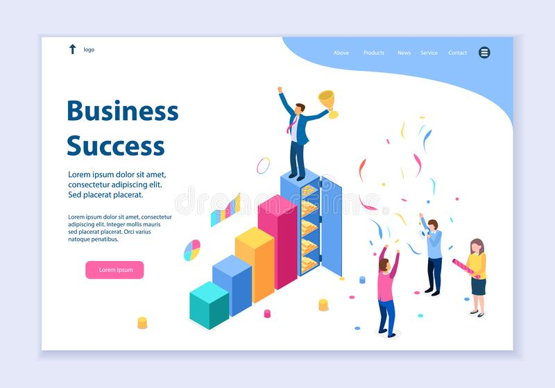 Creative website template of business success concept vector illustration