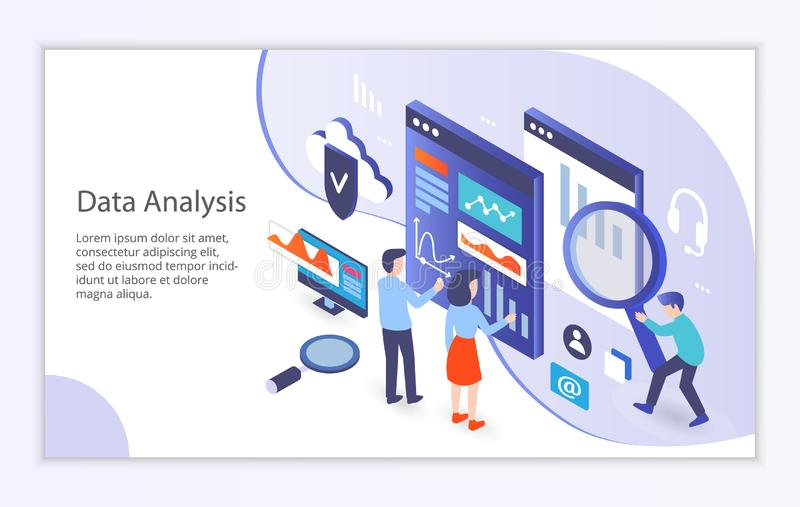 Creative website template of data analysis concept royalty free illustration