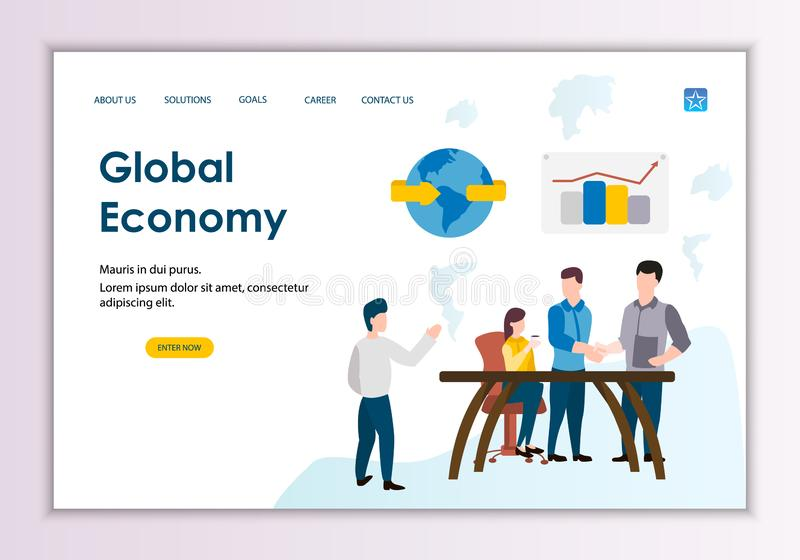 Creative website template of global economy concept vector illustration