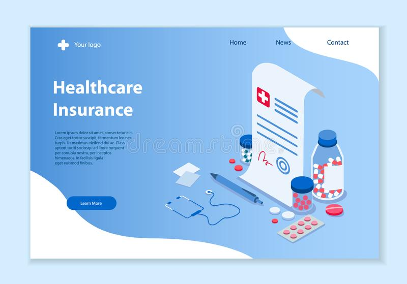 Healthcare Insurance concept, 3D isometric vector illustration stock illustration